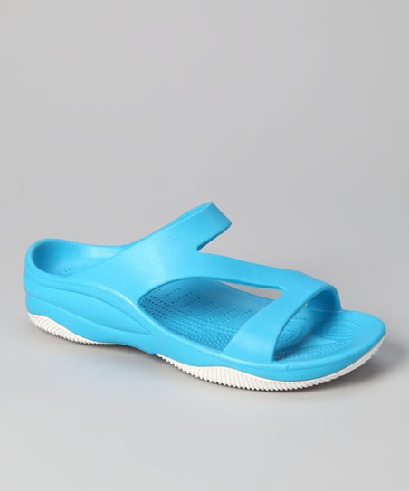 Peacock Blue &amp; White Z Sandal - Women