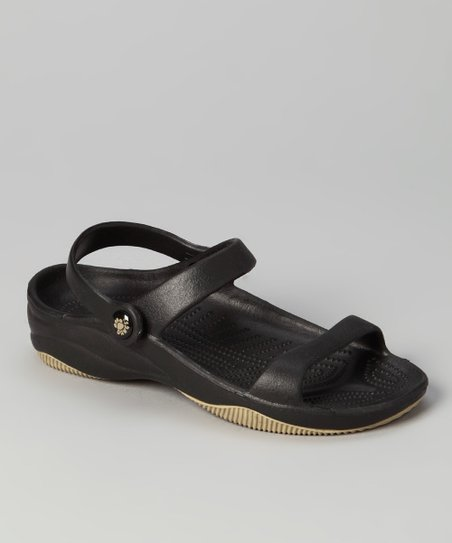 Black & Tan Triple-Strap Sandal - Kids