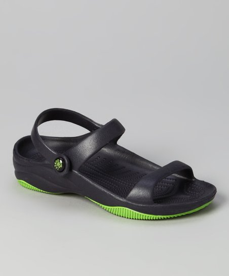 Navy & Lime Green Triple-Strap Sandal - Kids