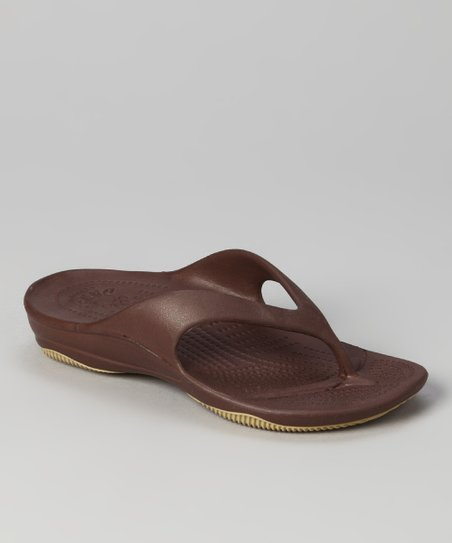 Dark Brown &amp; Tan Flip-Flop - Kids