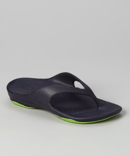 Navy &amp; Lime Green Flip-Flop - Kids