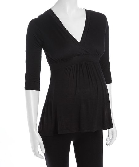 Black Surplice Maternity Top