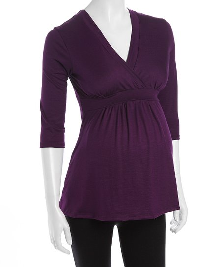 Purple Surplice Maternity Top
