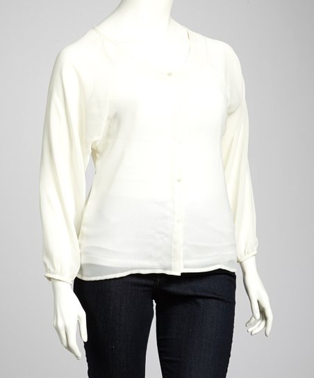 White Cutout Button-Up - Plus