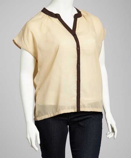 Mocha & Black Short-Sleeve Button-Up - Plus