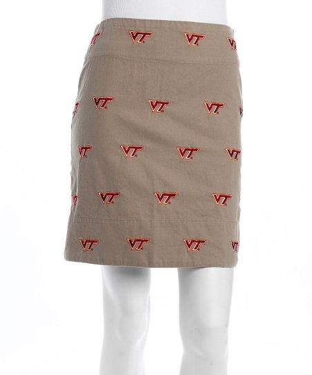 Khaki Virginia Tech Stadium Skirt - Women