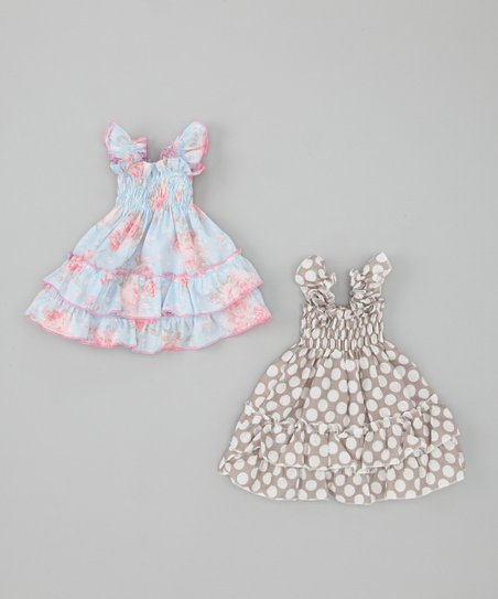 Gray & Blue Polka Dot & Floral Doll Outfit Set