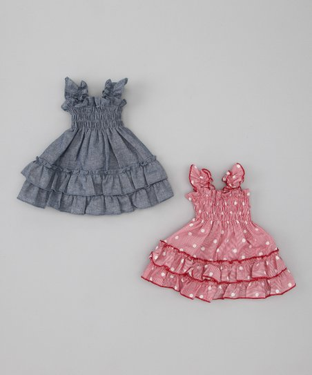 Blue & Pink Polka Dot Doll Outfit Set