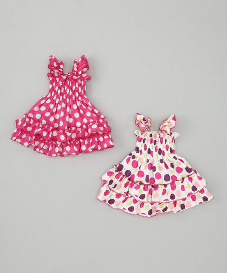 White & Pink Polka Dot Doll Outfit Set