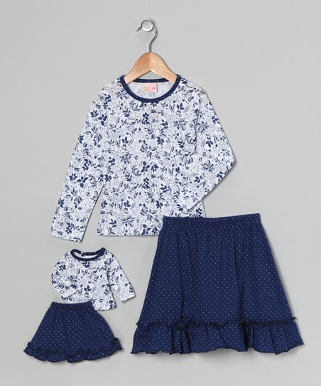 Blue Floral & Polka Dot Chelsea Skirt Set & Doll Outfit