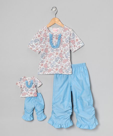 Blue Vicky Ruffle Pants Set & Doll Outfit - Girls