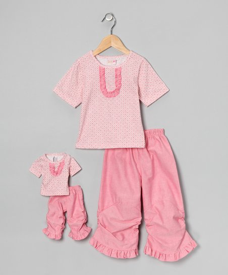 Pink Vicky Ruffle Pants Set & Doll Outfit - Girls