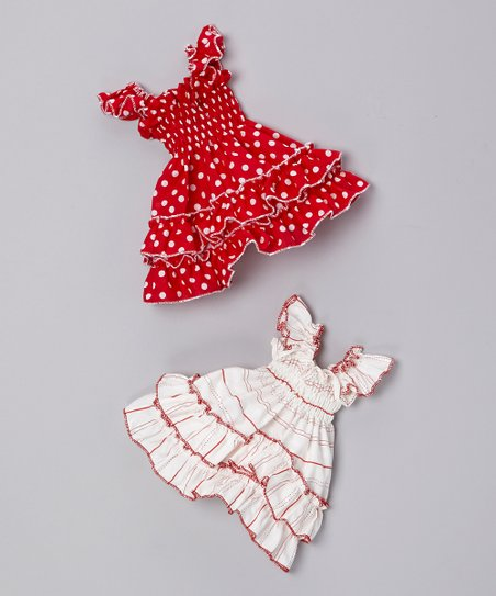 Red Polka Dot & White Stripe Doll Dress Set