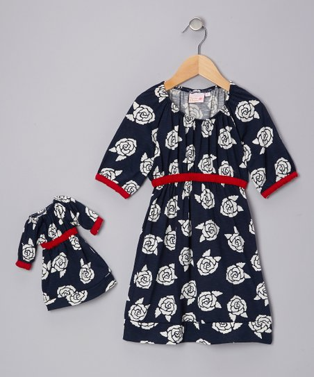 Navy English Rose Kate Dress & Doll Outfit – Girls