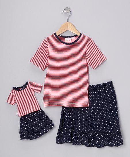 Blue & Red Stripe Chelsea Skirt Set & Doll Outfit