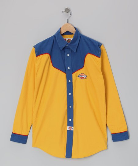 Royal & Yellow Big Tex Shirt - Boys