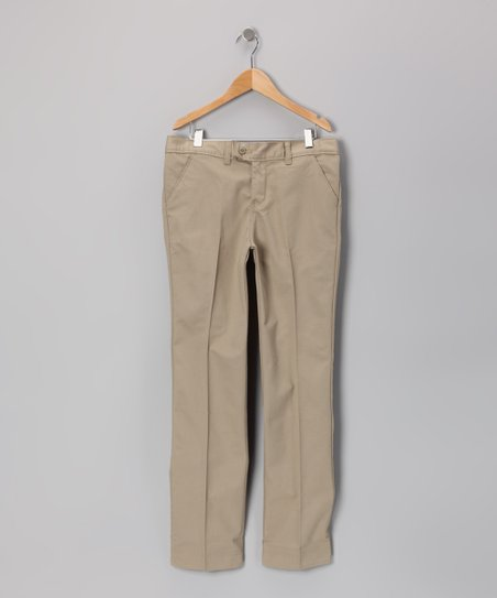Khaki Slim Pants - Girls