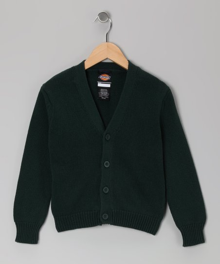 Green V-Neck Cardigan - Boys