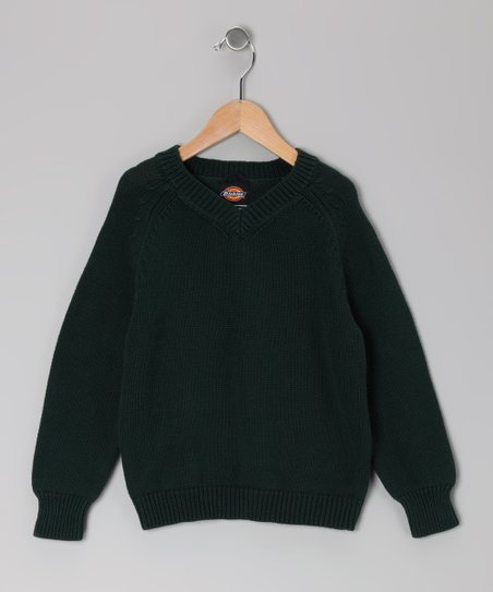 Green V-Neck Sweater - Boys