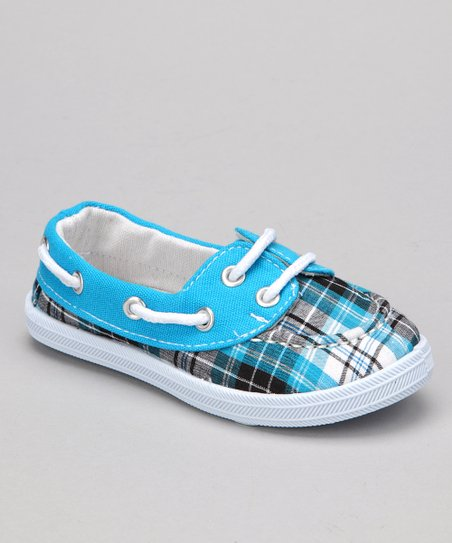 Blue Plaid Boaty Boat Shoe