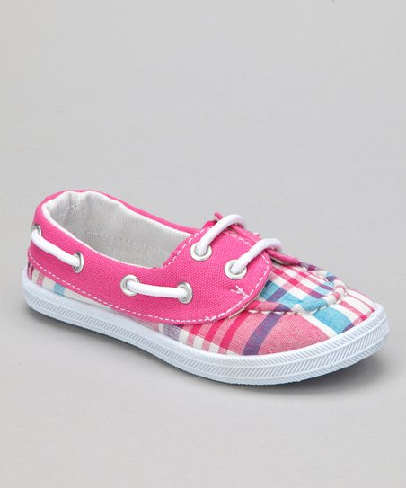 Fuchsia Plaid Boaty Boat Shoe