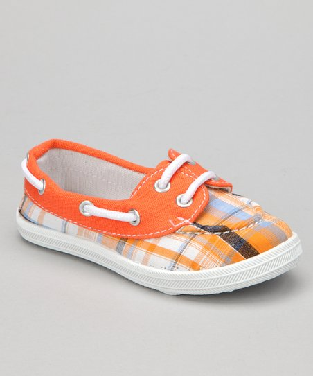 Orange Plaid Boaty Boat Shoe