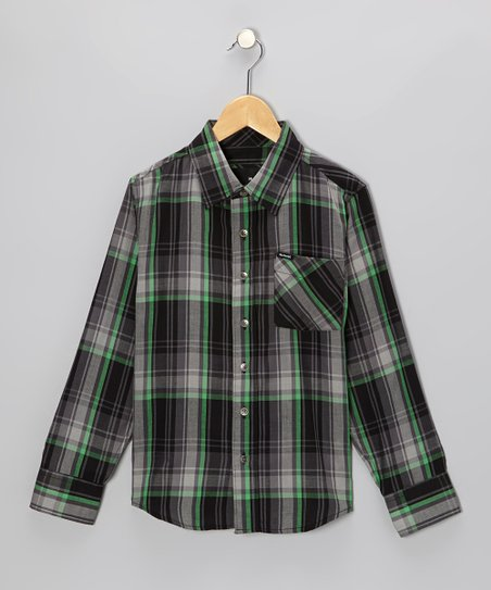 Black Plaid Woven Button-Up - Toddler & Boys