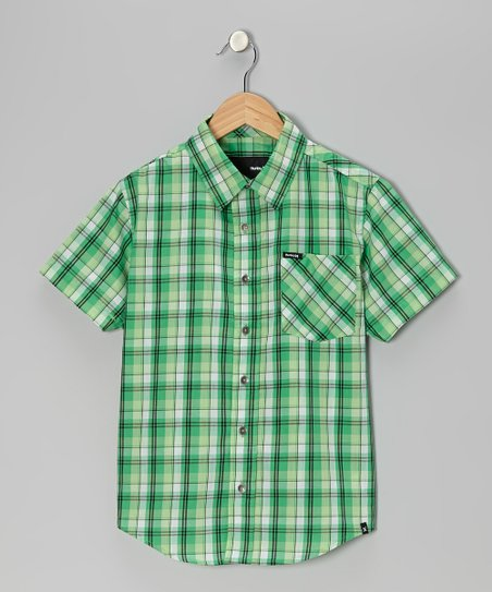 Electric Green Plaid Button-Up - Boys