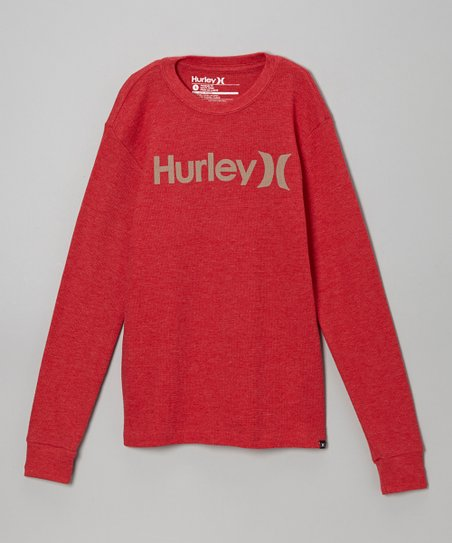 Red 'Hurley' Long-Sleeve Tee - Boys