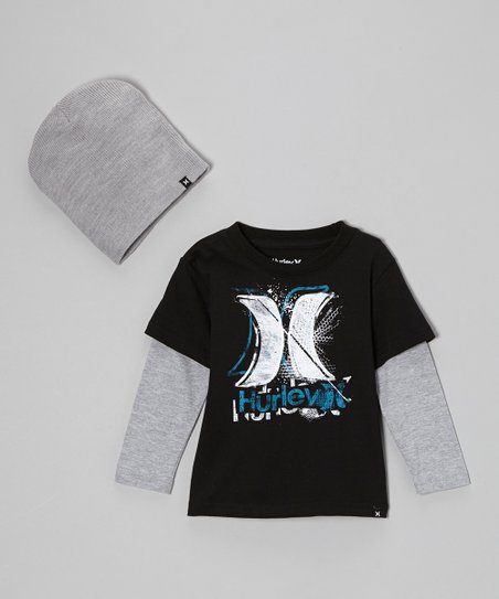 Black Layered Tee & Gray Beanie - Toddler