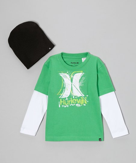 Green Layered Tee & Black Beanie - Boys