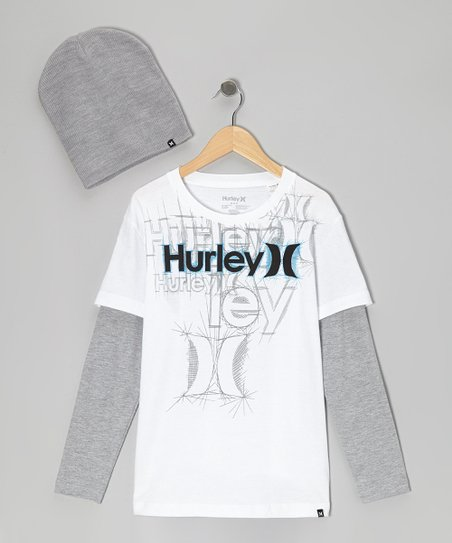 White Grapher Layered Tee & Gray Beanie - Infant