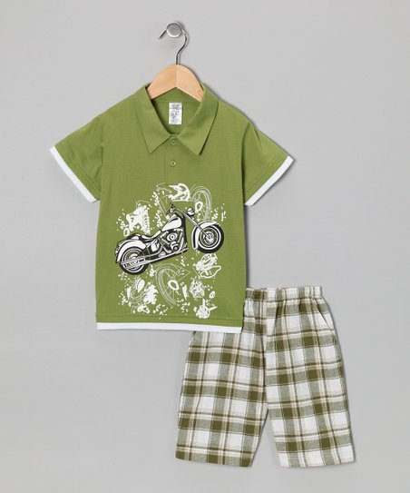 Lime Motorcycle Polo & Plaid Shorts - Infant, Toddler & Boys