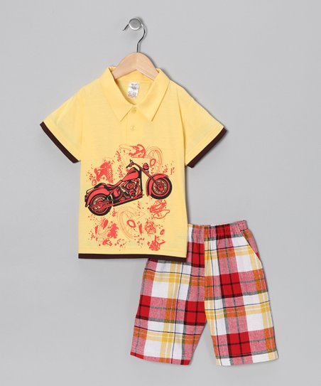 Yellow Motorcycle Polo &amp; Plaid Shorts - Infant, Toddler &amp; Boys