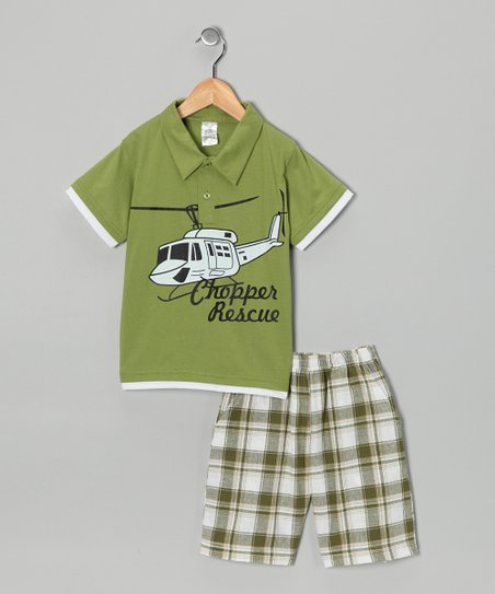 Lime Helicopter Polo & Plaid Shorts - Infant, Toddler & Boys