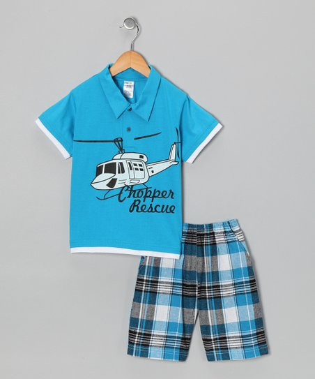 Turquoise Helicopter Polo & Plaid Shorts - Infant, Toddler & Boys