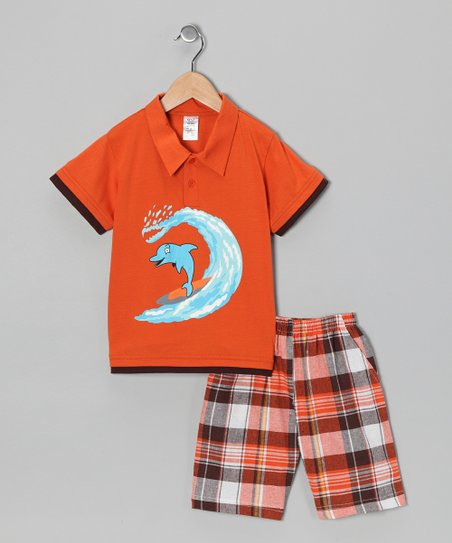 Orange Dolphin Polo & Plaid Shorts - Infant, Toddler & Boys