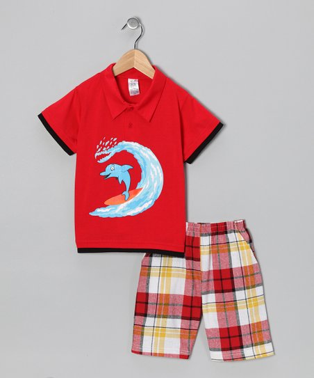 Red Dolphin Polo & Plaid Shorts - Infant, Toddler & Boys