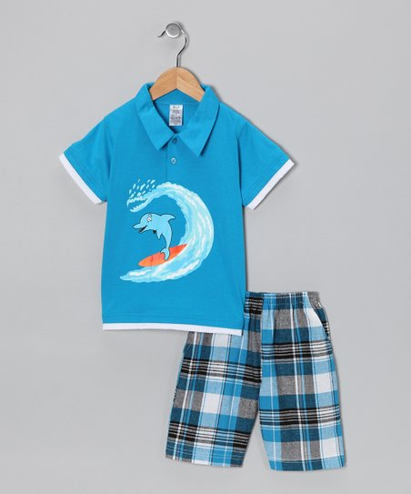 Turquoise Dolphin Polo & Plaid Shorts - Infant, Toddler & Boys