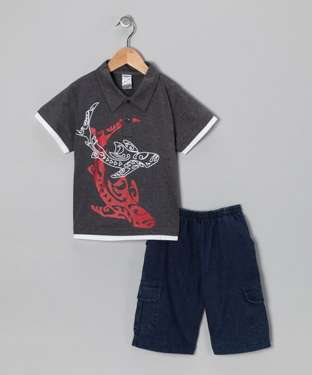 Charcoal Whale Polo & Jean Shorts - Infant, Toddler & Boys