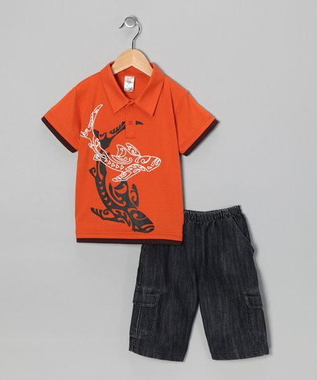 Orange Whale Polo & Jean Shorts - Infant, Toddler & Boys
