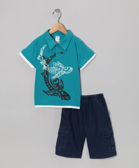 Teal Whale Polo & Jean Shorts - Infant