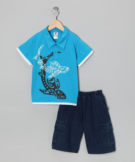 Turquoise Whale Polo & Jean Shorts - Infant, Toddler & Boys