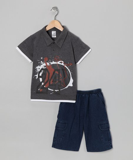 Charcoal '24' Polo & Jean Shorts - Infant & Boys