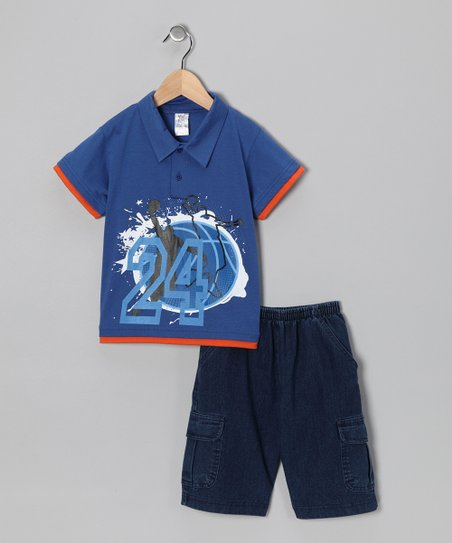 Royal Blue Basketball Polo & Jean Shorts - Infant, Toddler & Boys