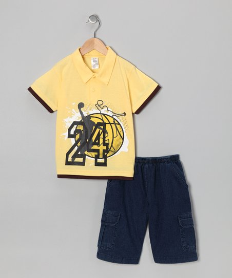 Yellow '24' Polo & Jean Shorts - Toddler & Boys