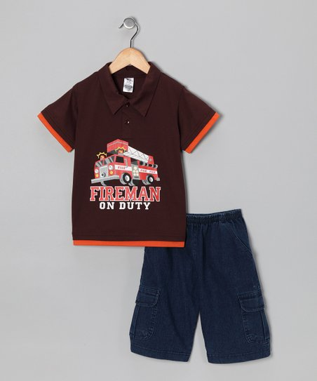 Brown Fire Truck Polo &amp; Jean Shorts - Infant, Toddler &amp; Boys