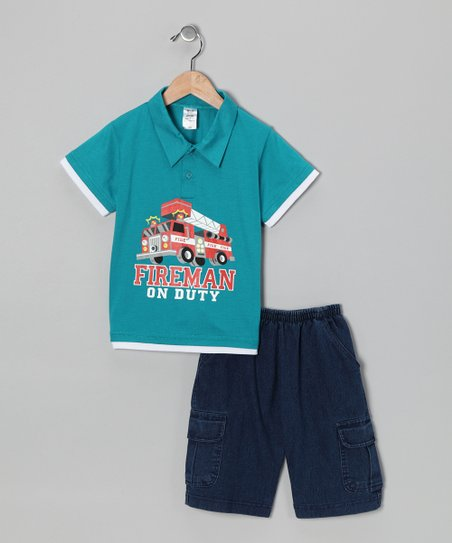 Teal Fire Truck Polo & Jean Shorts - Infant, Toddler & Boys