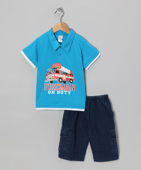 Turquoise Fire Truck Polo & Jean Shorts - Infant, Toddler & Boys