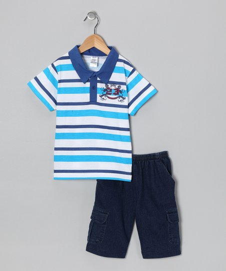Turquoise Stripe Polo & Jean Shorts - Infant, Toddler & Boys